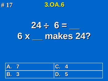 3rd Grade Common Core Math 3 OA.6 Division As An Unknown-Factor Problem 3.OA.6