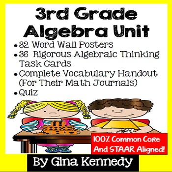 3rd Grade Algebra Unit, Handouts, Word Wall, Task Cards and Assessment