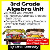 3rd Grade Algebra Unit, Handouts, Word Wall, Task Cards an