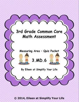 3rd Grade Common Core Math Assessment: 3.MD.6 Area