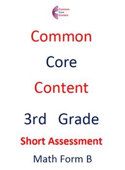 3rd Grade Common Core Math Assessment Bundle SHORT Form A and B Third Grade