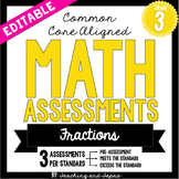3rd Grade Common Core Math Assessment - Fractions