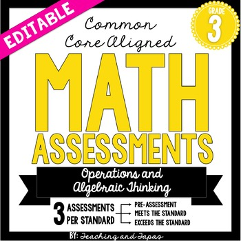 3rd Grade Common Core Math Assessment -Operations and Algebraic