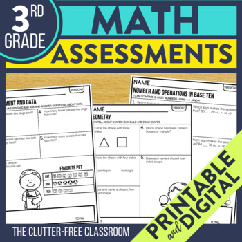 3rd Grade Math Assessments | Progress Monitoring | Quick Checks | Data Tracking