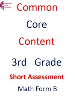 3rd Grade Common Core Math Assessment SHORT Form B (10 Questions) Third Grade