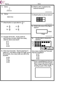3rd Grade Common Core Math Assessment SHORT Form B (10 Que
