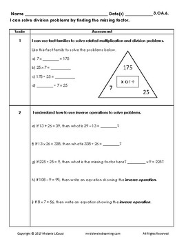 3rd Grade Math Assessment with Learning Goals & Scales -Editable All Standards