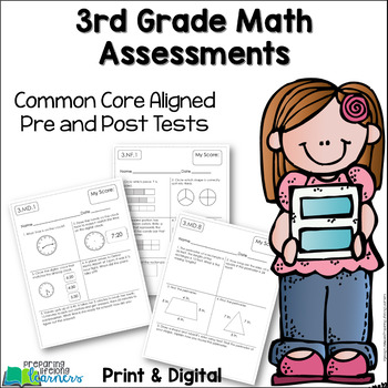 3rd Grade Math Assessments {Pre and Post Tests} Common Core Aligned