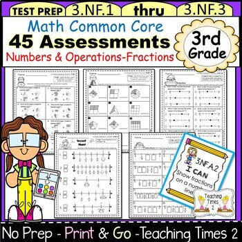 3rd Grade Common Core Math Assessments- Fractions