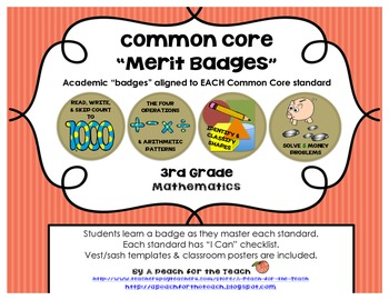 "3rd Grade Common Core Math Badges, with ""I Can"" Checklists"