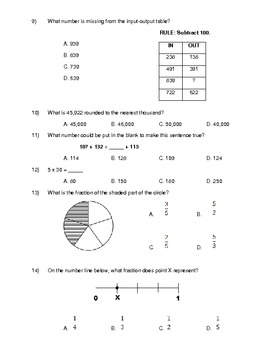 Nifty image pertaining to 3rd grade math test printable