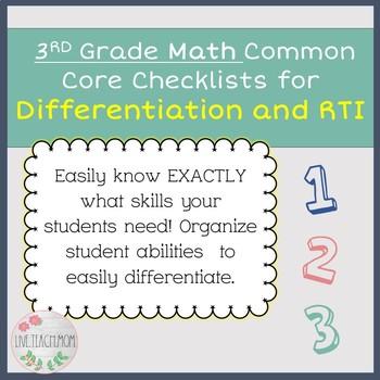 3rd Grade Common Core Math Checklist for Differentiation