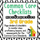 3rd Grade Common Core Math Checklists: Proficiency, Lessons, Assessment