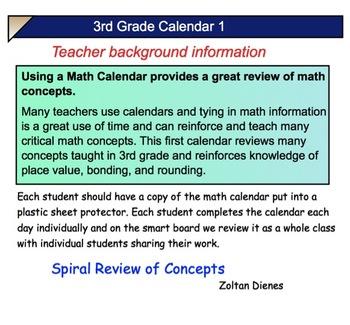 3rd Grade COMMON CORE MATH CALENDAR: Math Concepts and Number Sense  SMARTBOARD