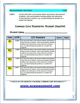 Constructed Response Assessment (CRA): 3.MD.1 - 3rd Grade Common Core