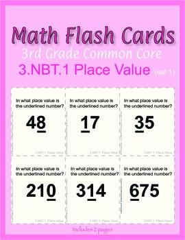 3rd Grade Common Core Math Flash Cards, 3.NBT.1 Place Value (set 1)