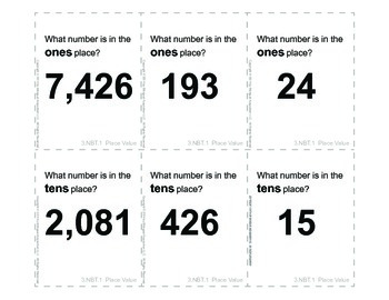 3rd Grade Common Core Math Flash Cards, 3.NBT.1 Place Value (set 2)