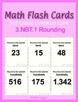 3rd Grade Common Core Math Flash Cards, 3.NBT.1 Rounding