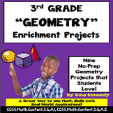 3rd Grade Geometry Projects, Plus Vocabulary Handout