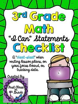 "3rd Grade Common Core Math ""I Can"" Checklist (Ink Saver)"