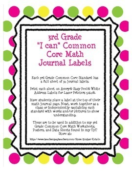 """3rd Grade Common Core Math """"I Can"""" Journal Labels"""
