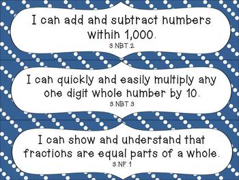 3rd Grade Common Core Math I Can Statements