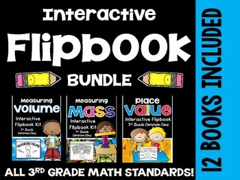 3rd Grade Common Core Math- Interactive Flipbook Bundle Pack-12 Flipbooks