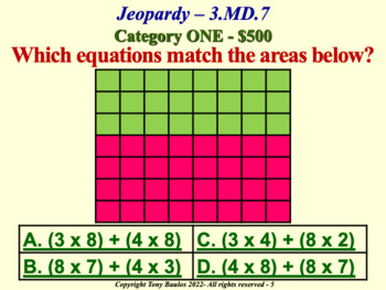 3rd Grade Common Core Math Jeopardy Game - 3 MD.7 Measurement and Data 3.MD.7