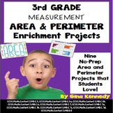 3rd Grade Area and Perimeter Enrichment Projects, + Vocabulary Handout