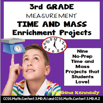 3rd Grade Time and Mass Enrichment Projects, + Vocabulary Handout