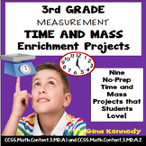 3rd Grade Telling Time and Mass Enrichment Projects, + Vocabulary Handout