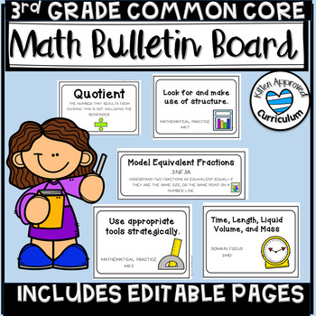 3rd Grade Math Posters Editable I Can Statements and Vocabulary