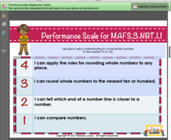 3rd Grade Math Posters with Marzano Scales - Editable levels