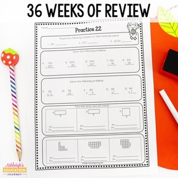 3rd grade math review spiral review worksheets by ashleigh tpt. Black Bedroom Furniture Sets. Home Design Ideas