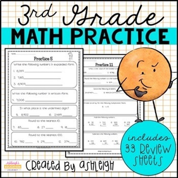 3rd Grade Math Review - Spiral Review Worksheets - Distance Learning