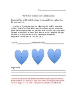 3rd Grade Common Core Math Problems and Answers