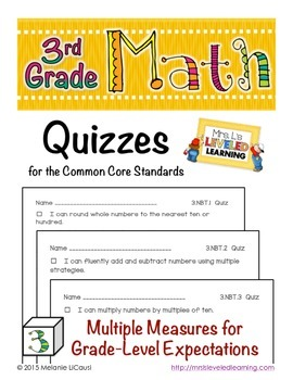 3rd Grade Common Core Math Quizzes - All Standards - Distance Learning