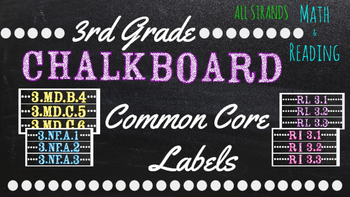 3rd Grade Common Core Math/Reading Chalkboard Labels (Ster