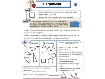 3rd Grade Common Core Math Review:  2-D Tuesday   4th 9 Weeks