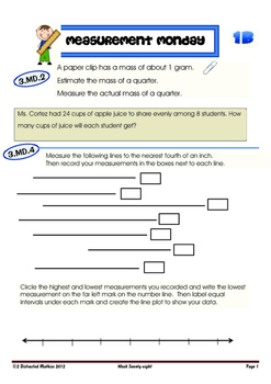 3rd Grade Common Core Math Review:  Bundled 4th 9 Weeks