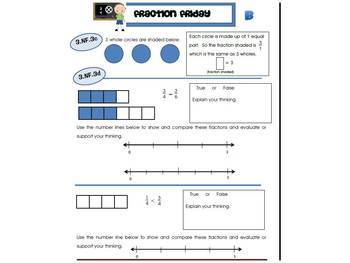 3rd Grade Common Core Math Review:  Fraction Friday  1st 9 Weeks