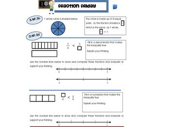 3rd Grade Common Core Math Review:  Fraction Friday   4th 9 Weeks