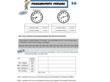 3rd Grade Common Core Math Review:  Measurement Monday  4th 9 Weeks