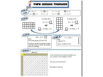 3rd Grade Common Core Math Review:  Think Algebra Thursday  1st 9 Weeks