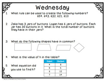3rd Grade Common Core Math Review Week 1