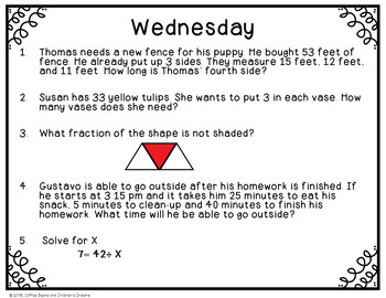 3rd Grade Common Core Math Review Week 5