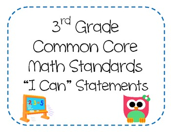 3rd Grade Common Core Math Standards - I Can Statements (Owl Theme)