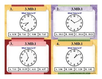 3rd Grade Common Core Math Task Cards 3 MD.1 Tell and write time. 3.MD.1