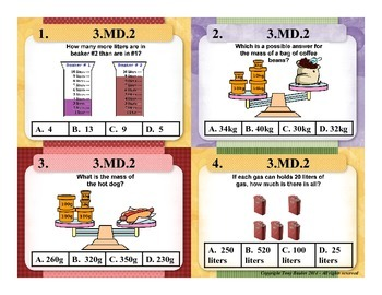 3rd Grade Common Core Math Task Cards 3.MD.2 Measurement and Data