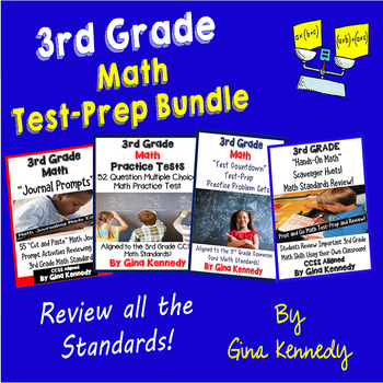 3rd Grade Math Test-Prep Bundle Practice Tests, Projects and Journals